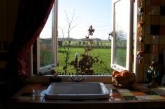Uitzicht keuken Pipowagen